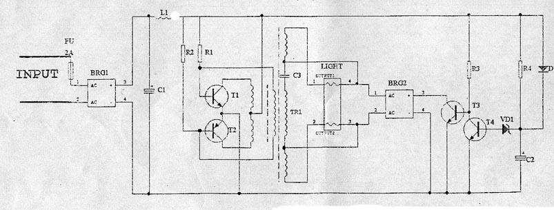 自制双U形直流应急灯  笔者利用报废的9W双U形节能灯的灯管和从郑州东明电子商店邮购的廉价12V交直流逆变板制作了一台直流应急灯。 图中是逆变板的电路图,电源输入端允许输入12v的直流电压或者10v左右的交流电压,FU是2安培的保险器,可以防止意外短路损坏电源,BRG1是整流桥,可以对交流电压进行整流或者对直流电压进行极性转换,C1是电源滤波电容,如果只使用12V的蓄电池作电源,也可以拆除BRG1将电池通过FU保险器直接接至C1两端。L1是滤波电感,可以限制电源纹波进入逆变电路同时也防止逆变电路工作