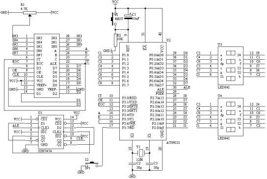 ADC0809A/D转换芯片的原理及应用  ADC0809是带有8位A/D转换器、8路多路开关以及微处理机兼容的控制逻辑的CMOS组件。它是逐次逼近式A/D转换器,可以和单片机直接接口。 (1)ADC0809的内部逻辑结构  由上图可知,ADC0809由一个8路模拟开关、一个地址锁存与译码器、一个A/D转换器和一个三态输出锁存器组成。多路开关可选通8个模拟通道,允许8路模拟量分时输入,共用A/D转换器进行转换。三态输出锁器用于锁存A/D转换完的数字量,当OE端为高电平时,才可以从三态输出锁存器取走转换完的